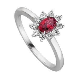 Mestergull Klassisk ring i rhodinert sølv med synt. rød topas og cubic zirkonia VIVENTY Ring