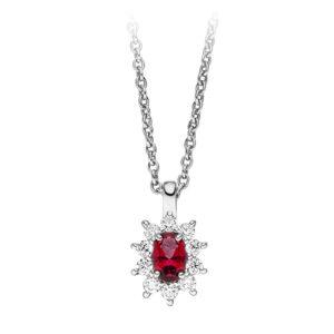 Mestergull Klassisk anheng i rhodinert sølv med synt. rød topas og cubic zirkonia VIVENTY Anheng