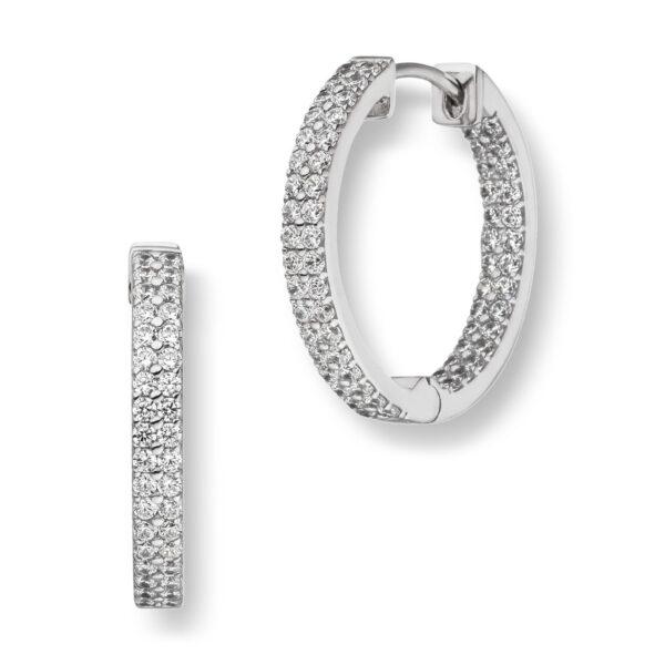 Mestergull Trendy øreringer i rhodinert sølv med cubic zirkonia VIVENTY Ørepynt