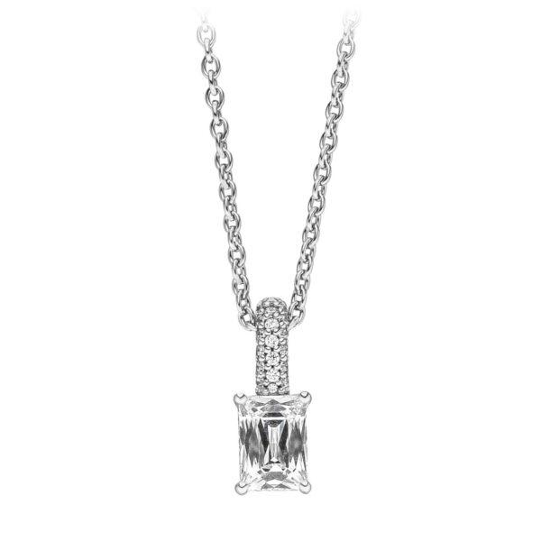 Mestergull Delikat anheng i rhodinert sølv med baguettslipte og runde cubic zirkonia VIVENTY Anheng