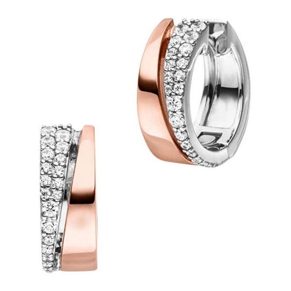 Mestergull Lekkre ørering i rhodinert og roseforgylt sølv med cubic zirkonia VIVENTY Ørepynt