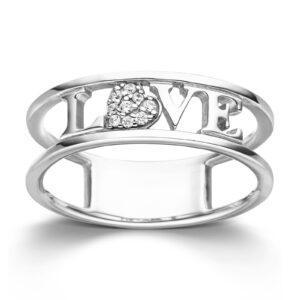Mestergull Flott ring i forgylt sølv med cubic zirkonia og Love VIVENTY Ring