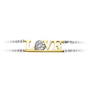 Mestergull Flott armbånd i rhodinert og forgylt sølv med cubic zirkonia og Love VIVENTY Armbånd