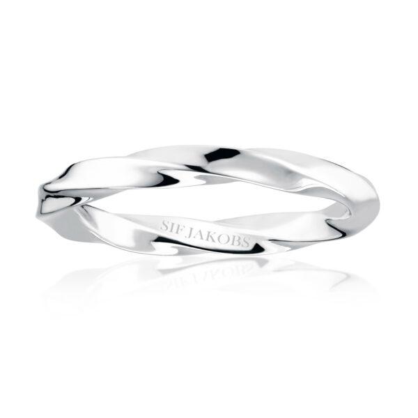 Mestergull Ring i sølv 925S rhodinert, med blankpolert overflate SIF JACOBS JEWELLERY Ferrara Ring