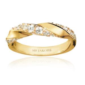 Mestergull Ring i sølv 925S forgylt med 18K gull, med blankpolert overflate og fasettslepne klare Zirkonia SIF JACOBS JEWELLERY Ferrara Ring