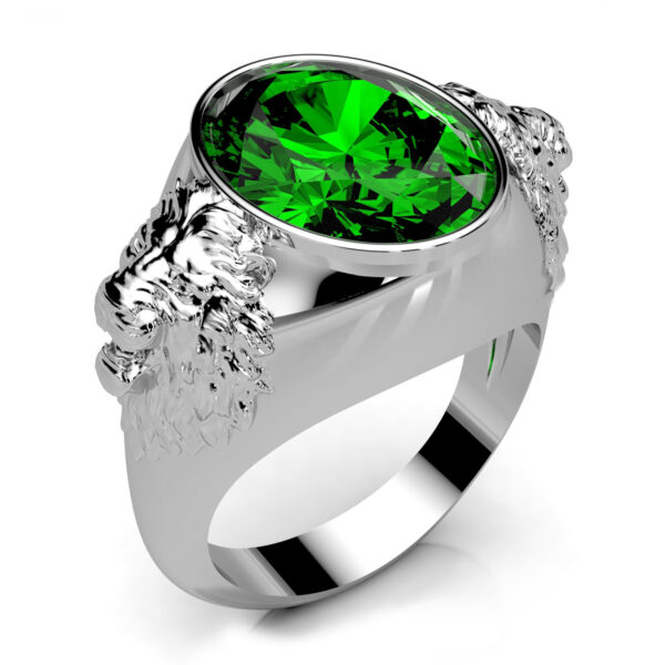 Mestergull Herre ring i sølv med synt. smaragd laget til kunde DESIGN STUDIO Spesialdesign Ring