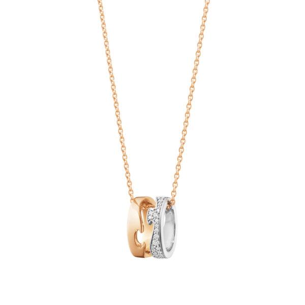 Mestergull Fusion anheng i rosè og hvitt gull med diamanter inkludert kjede GEORG JENSEN Fusion Anheng