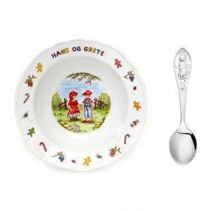 Mestergull Sølv barneskje med grøtskål i porselen i mønsteret Grete GRETE Barneskje