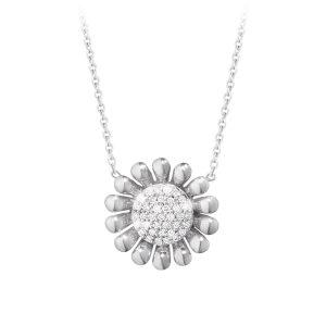 Mestergull Sunflower anheng i sølv med Diamanter. GEORG JENSEN Sunflower Anheng