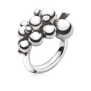 Mestergull Moonlight Grapes ring i oksidert sølv GEORG JENSEN Grape Ring