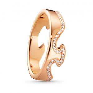 Mestergull Fushion ende ring i 18kt. rosè gull og diamanter GEORG JENSEN Fusion Ring