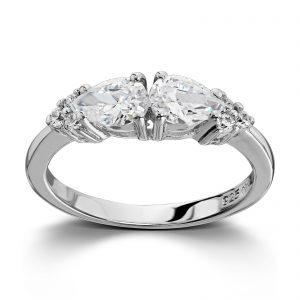 Mestergull Fin sølvring med hvite cubic zirkonia GID Ring