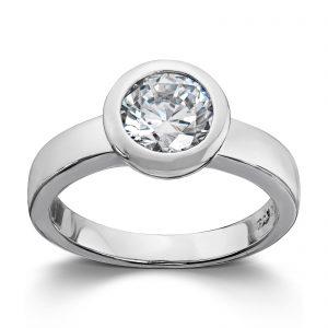 Mestergull Enkel sølvring med sariefattet hvit cubic zirkonia GID Ring