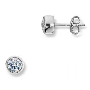 Mestergull Enkel sølvørepynt med sariefattet hvit cubic zirkonia GID Ørepynt