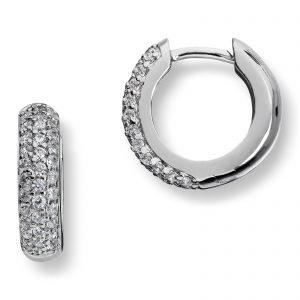 Mestergull Tidløse øreringer i rhodinert sølv med hvite cubic zirkonia GID Ørepynt