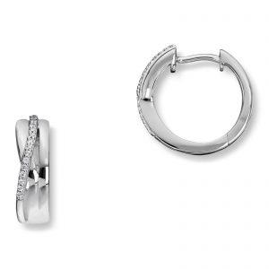 Mestergull Flotte øreringer i rhodinert sølv med hvite cubic zirkonia GID Ørepynt