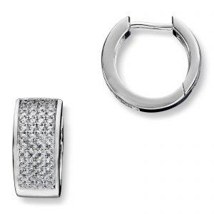 Mestergull Lekkre øreringer i rhodinert sølv med hvite cubic zirkonia GID Ørepynt