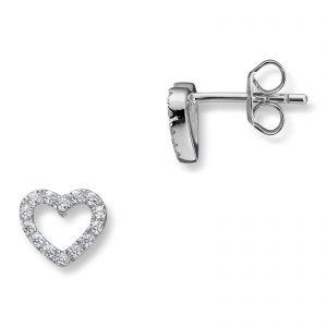 Mestergull Elegant hjerteørepynt i rhodinert sølv med hvite cubic zirkonia GID Ørepynt