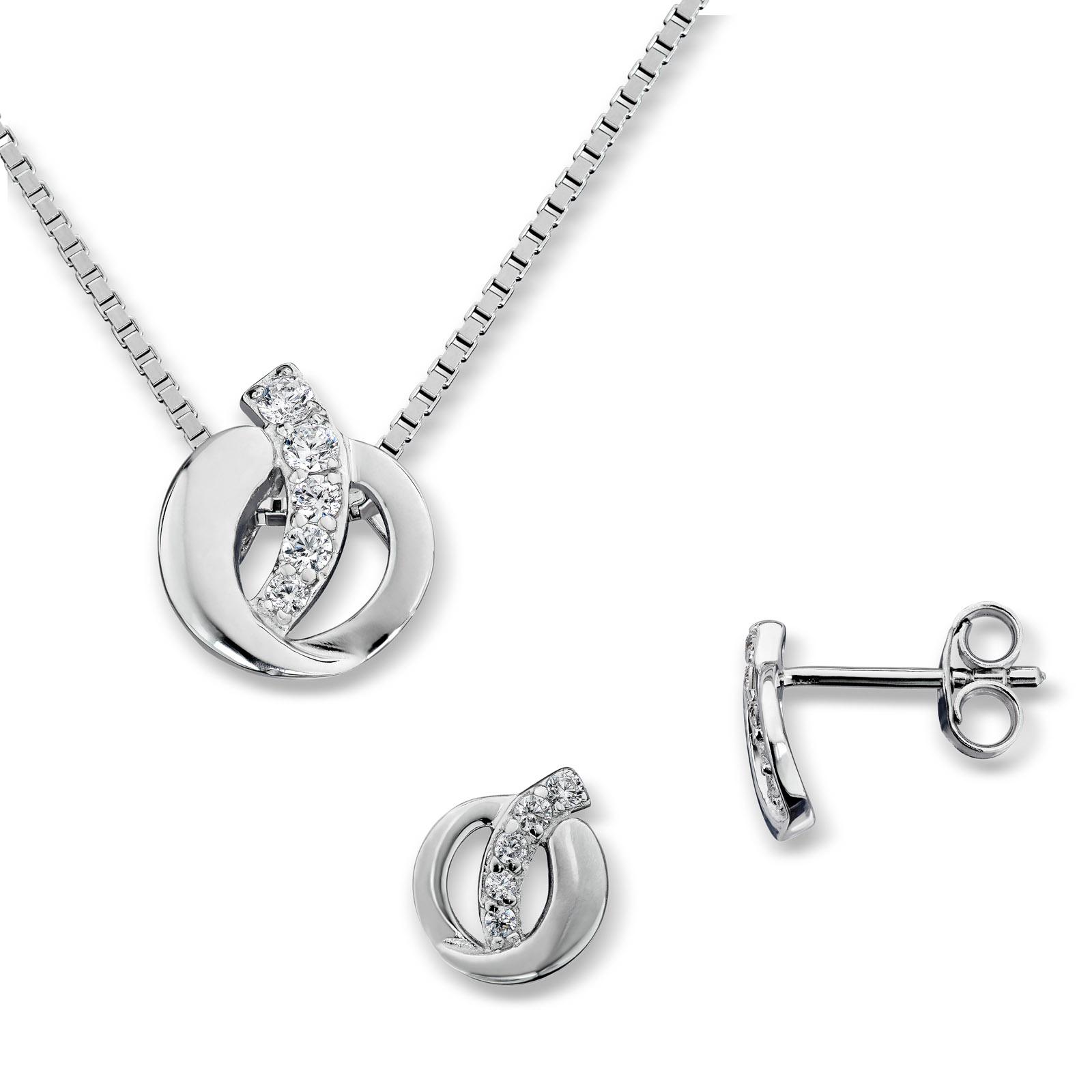 Mestergull Flott sett i rhodinert sølv, ørepynt og anheng med hvite cubic zirkonia GID Sett