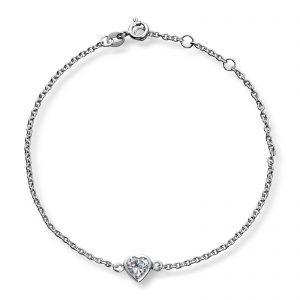 Mestergull Flott armbånd i rhodinert sølv med hvite cubic zirkonia GID Armbånd