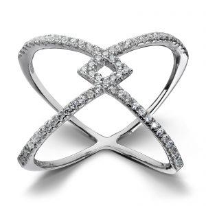 Mestergull Tøff statement rhodinert ring i sølv med hvite cubic zirkonia GID Ring