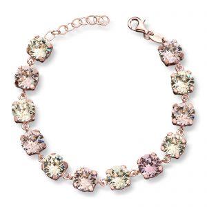 Mestergull Lekkert armbånd i rosèforgylt sølv med rosa og champagne swarovski krystaller GID Armbånd