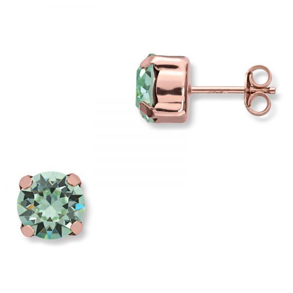 Mestergull Lekker ørepynt i rosèforgylt sølv med lyse grønne swarovski krystaller GID Ørepynt