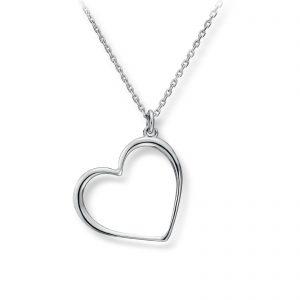 Mestergull Delikat hjerteanheng i rhodinert sølv GID Anheng