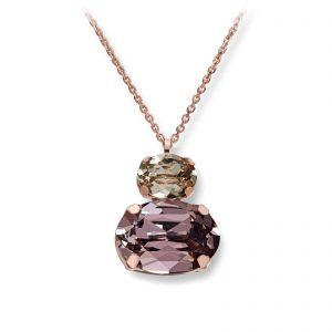 Mestergull Lekkert anheng i rosèforgylt sølv med rosa og champagne swarovski krystaller GID Anheng