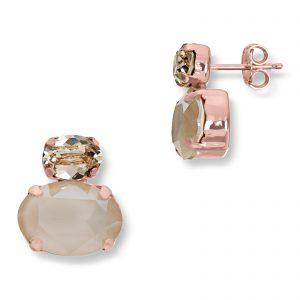 Mestergull Lekkert ørepynt i rosèforgylt sølv med creme mix av swarovski krystaller GID Ørepynt