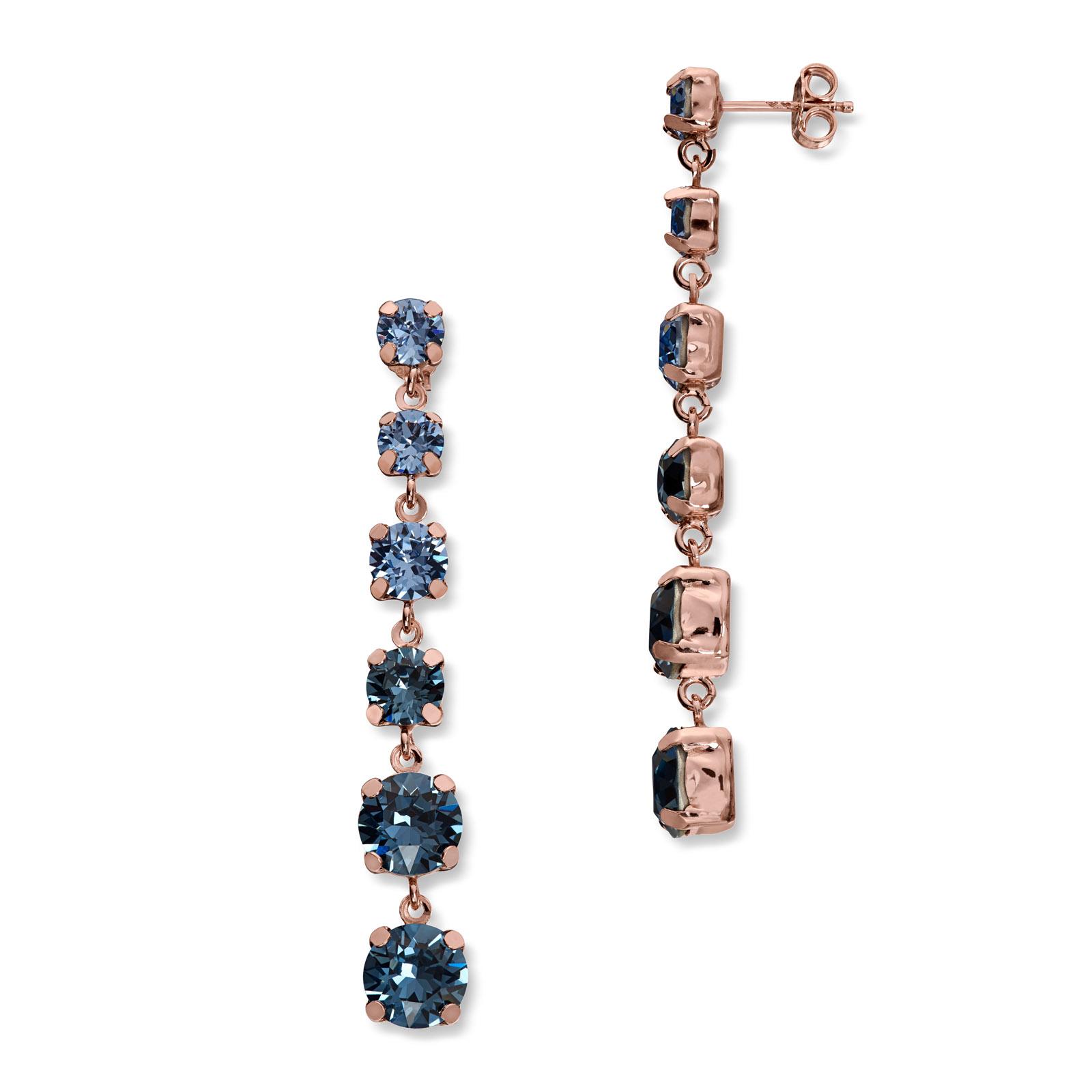 Mestergull Lekker ørepynt i rosèforgylt sølv med blå mix av swarovski krystaller GID Ørepynt