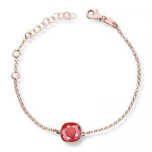 Mestergull Lekkert armbånd i rosèforgylt sølv med rød krystaller GID Armbånd