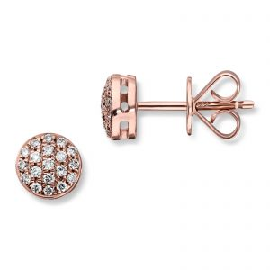 Mestergull Lekker pavert rund ørepynt i rosè gull med diamanter MG DIAMONDS Ørepynt