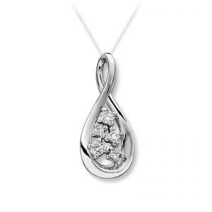 Mestergull Fint anheng i hvitt gull med diamanter MG DIAMONDS Anheng