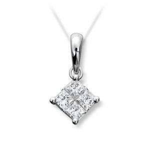 Mestergull Stramt og elegant anheng i hvitt gull med prinsesseslipte diamanter MG DIAMONDS Anheng