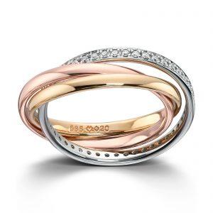 Mestergull Lekker ring i gult og hvitt gull med diamanter MG DIAMONDS Ring