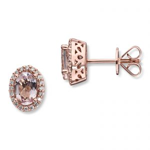 Mestergull Elegant ørepynt i rosè gull med morganitt og diamanter MG DIAMONDS Ørepynt