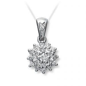 Mestergull Klassisk anheng i hvitt gull med diamanter MG DIAMONDS Anheng