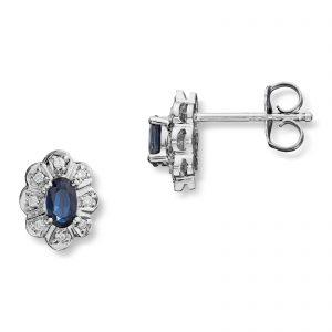 Mestergull Klassisk ørepynt i hvitt gull med safirer og diamanter MG DIAMONDS Ørepynt