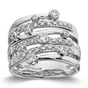 Mestergull Flott statement ring i hvitt gull med 39 diamanter MG DIAMONDS Ring
