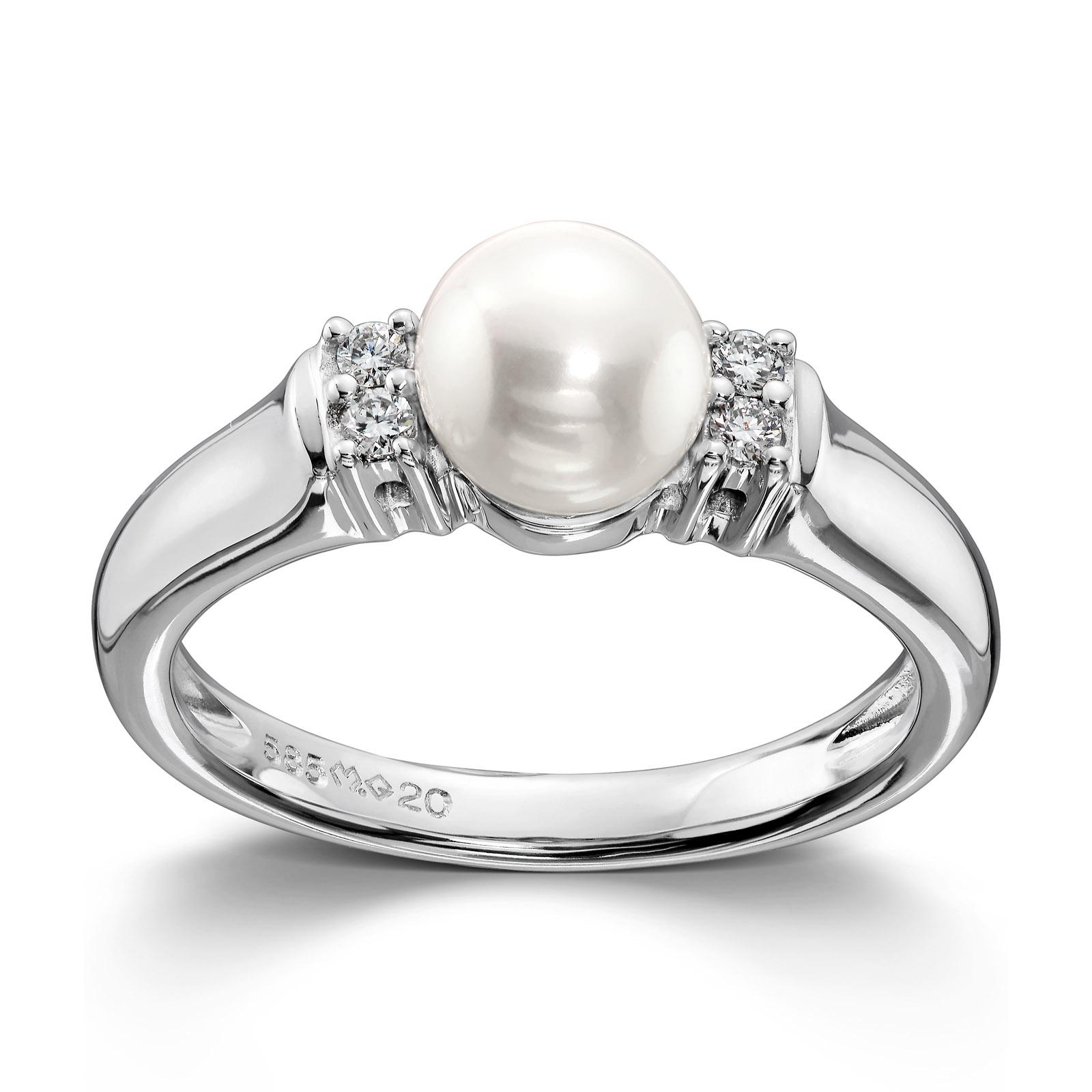 Mestergull Tidløs ring i hvitt gull med ferskvannsperle og 4 diamanter MG DIAMONDS Ring