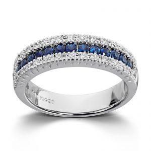 Mestergull Stram og elegant ring i hvitt gull med safirer og diamanter MG DIAMONDS Ring