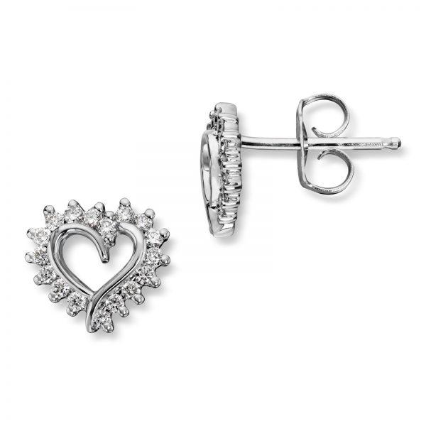 Mestergull Vakkert diamanthjerte ørepynt i hvitt gull, Mestergull-hjertet er et av våre signatursmykke MG DIAMONDS Ørepynt