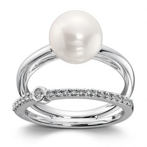 Mestergull Tøff ring i hvitt gull med diamanter og ferskvannsperle MG DIAMONDS Ring