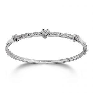 Mestergull Vakker armring med hjerte i hvitt gull med diamanter MG DIAMONDS Armring