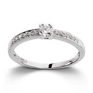 Mestergull Klassisk ring i hvitt gull med diamanter MG DIAMONDS Ring