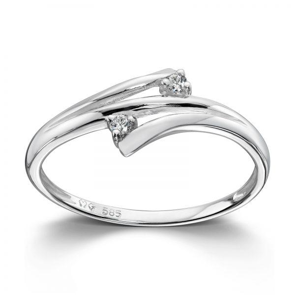 Mestergull Delikat ring i hvitt gull med diamanter MG DIAMONDS Ring