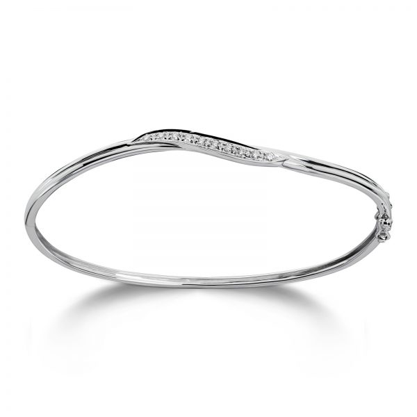 Mestergull Delikat armring i hvitt gull med diamanter MG DIAMONDS Armring