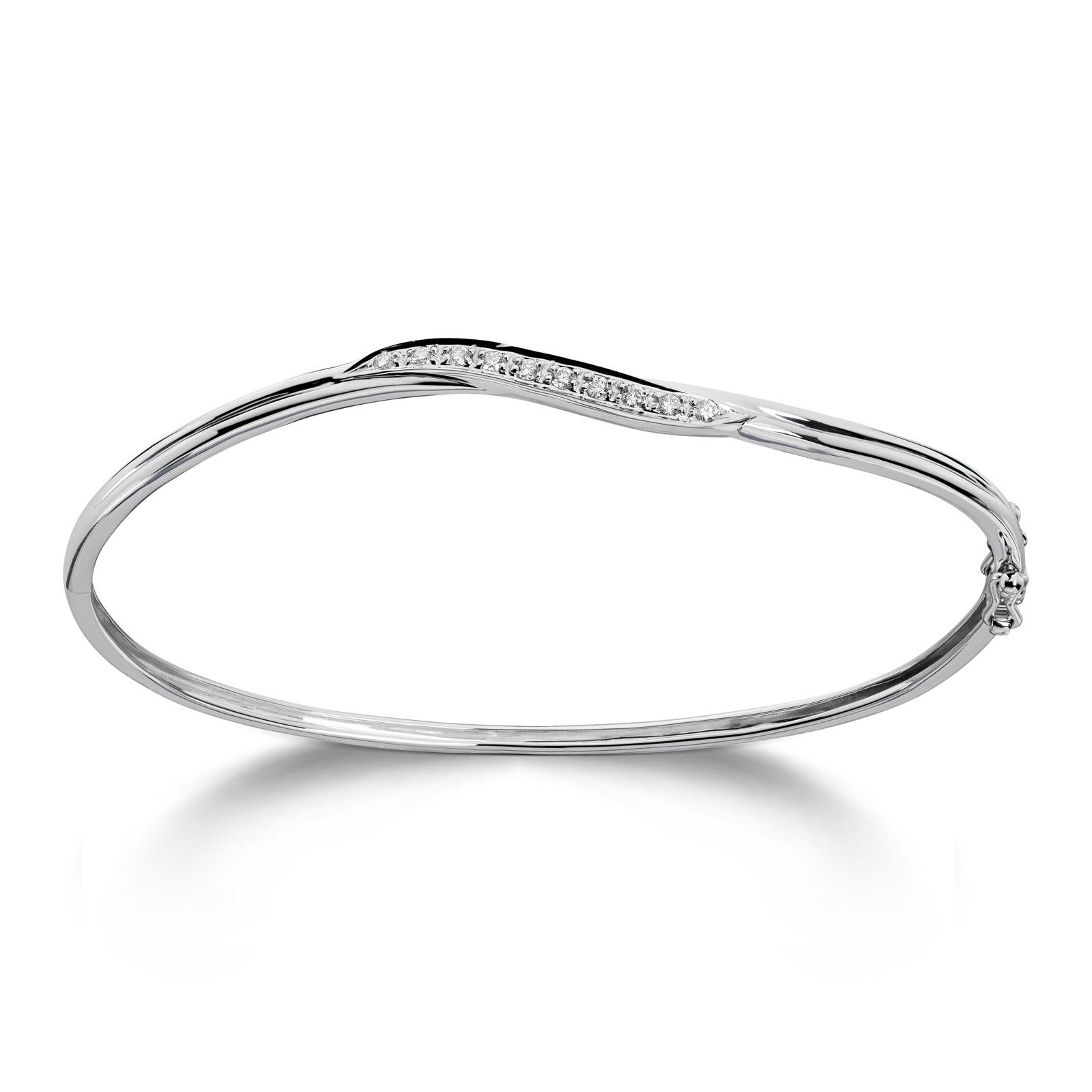 Mestergull Delikat armring i hvitt gull med diamanter MG DIAMONDS Armring