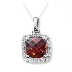 Mestergull Elegant anheng i hvitt gull med granat og diamanter MG DIAMONDS Anheng